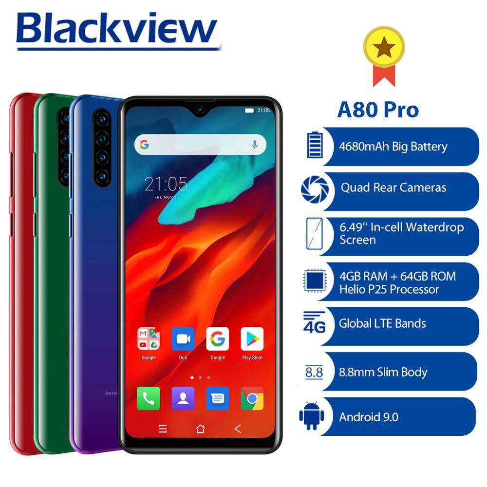Blackview a80 pro versão global 4gb + 64gb telefone móvel 4680mah 4g câmera traseira celular smartphonequad 6.49 waterwaterdrop celular