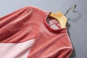Image 3 - Victoria Beckham Kleid 2020 Hohe Qualität Runway Stehkragen Langarm Patchwork Samt Elegante Damen Kleider NP0813W