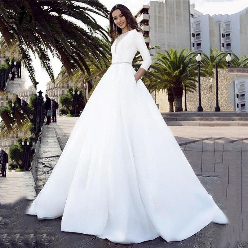 SoDigne Satin Wedding Dresses V Neck Bride Dresses Buttons Vestido de novia Boho Elegant Wedding Gown Pockets Custom Made