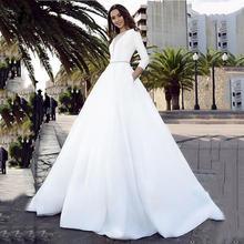 Платье свадебное атласное на пуговицах с v образным вырезом