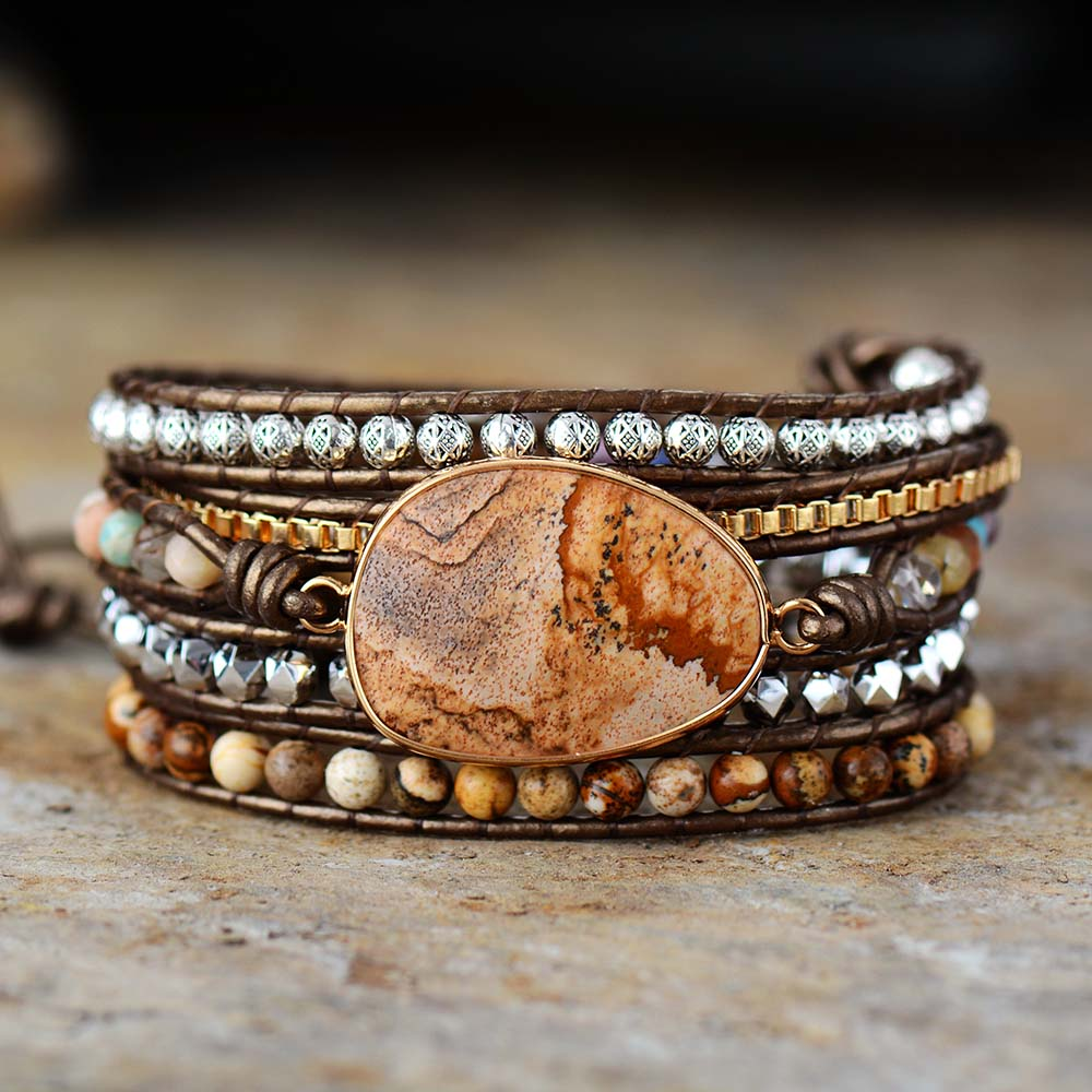 5 Strand Leather Wrap Bracelet W/ Semiprecious Stone Chain Beaded Statement Bracelet Boho Jewelry Dropshipping Wholesale