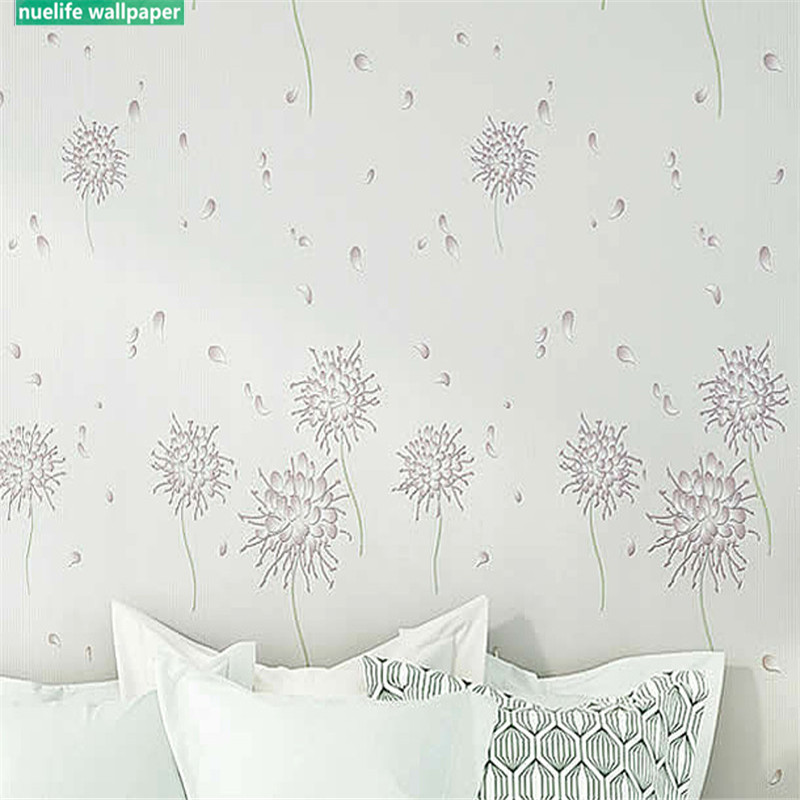 0.53x10m dandelion modern minimalist non-woven wallpaper 4D  thickening dandelion blue bedroom living room background wall paper