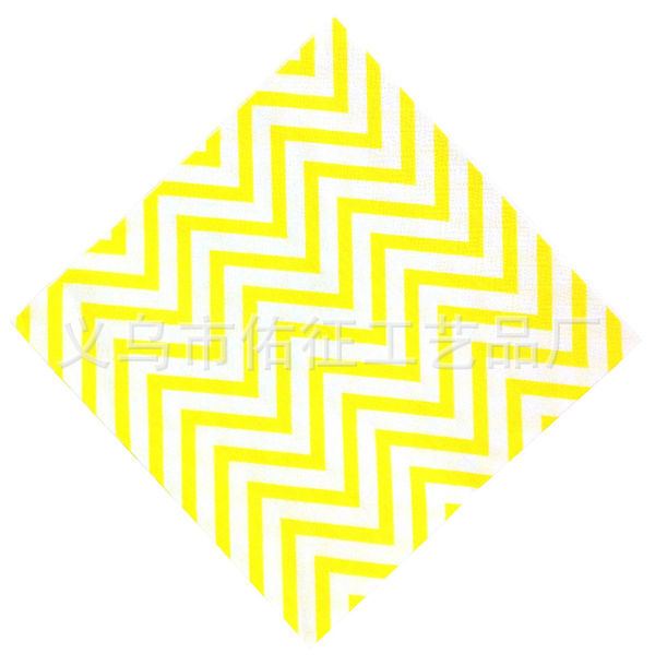 Korean-style New Style Color Printing Paper Towel Party Napkin Wedding Paper Towel Kleenex Wave Pattern Yellow