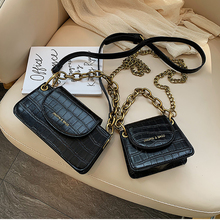 Fashion Crocodile Women Shoulder Bags Designer Vintage Chains Ladies Messenger Bag Luxury Pu Leather Crossbody Bags Small Purses brand casual pu small alligator crocodile chains ladies women clutch famous designer shoulder messenger crossbody bags for lady