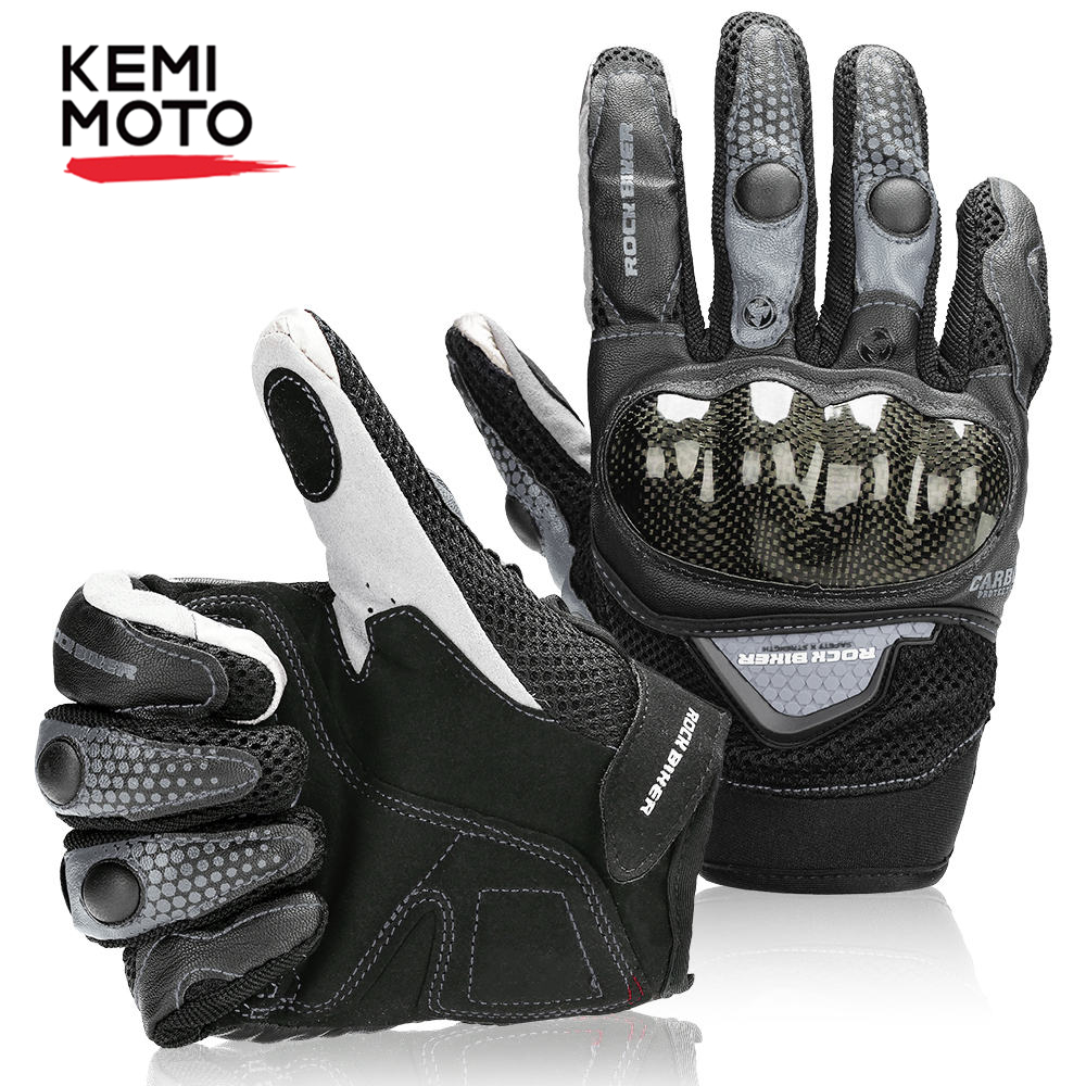 Kemimoto Motorcycle-Gloves Carbon-Fiber Touch-Screen Full-Finger-Glove Winter Summer