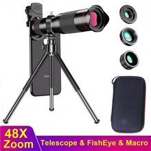 Tongdaytech 48X Mobile Phone Camera Lens 4 IN 1 Telescope Zoom Macro Lentille Fish Eye Lens for Iphone Samsung Xiaomi Smartphone(China)