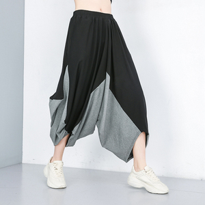 [EAM] High Elastic Waist Black Big Size Gray Harem Trousers New Loose Fit Pants Women Fashion Tide Spring Summer 2020 1W503