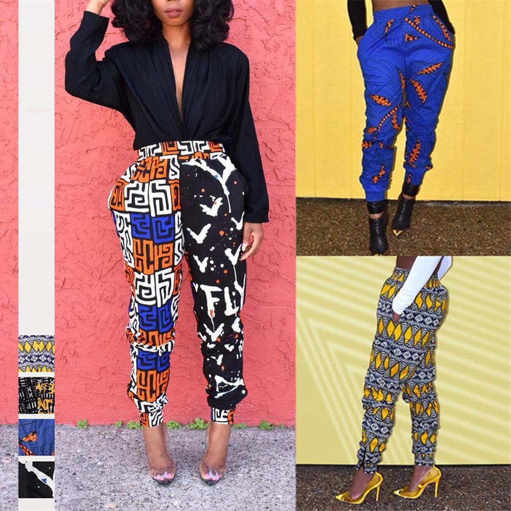Fadzeco African Ladies Clothes 2019 Autumn Dashiki Print Trousers Elastic Waist Fashion High Harem Pant African Dress For Women
