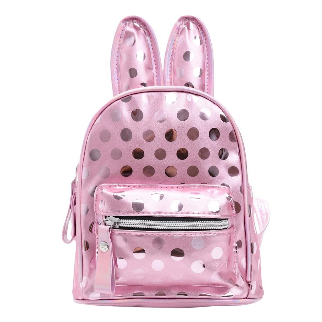 Mini Backpacks Knapsack Double-Shoulder-Bag Travel Rabbit Girls Children PU Dot Ears