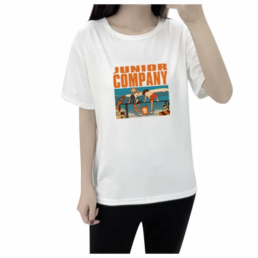 New tshirt 여성 캐릭터 pure color o-neck 반팔 t 셔츠 junior company haut 하라주쿠 camiseta mujer 탑 여성 t 셔츠