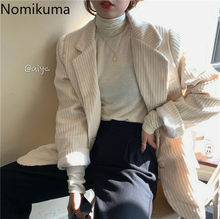Nomikuma Vintage Corduroy Road Mantel 2020 Spring Single Breasted Korea Kantor Lady Blazers Elegan Berlekuk Jaket 3Z046(China)