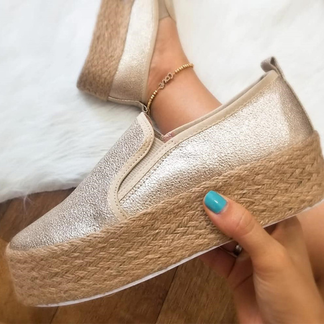 Women Sneakers Footwear Creepers Casual-Shoes Flat Platform Slip-On Female Plus-Size