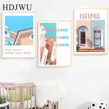 Modern  Canvas Painting Wall Picture Colorful Building Home Printing Posters Pictures for Living Room AJ00471