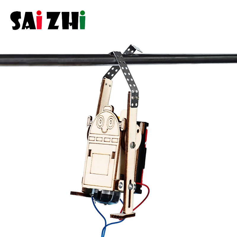 Saizhi DIY Electric Robot Rope Climbing Kids Science Discovery Toys STEAM Education Physics Experiment Kit School Project Kits