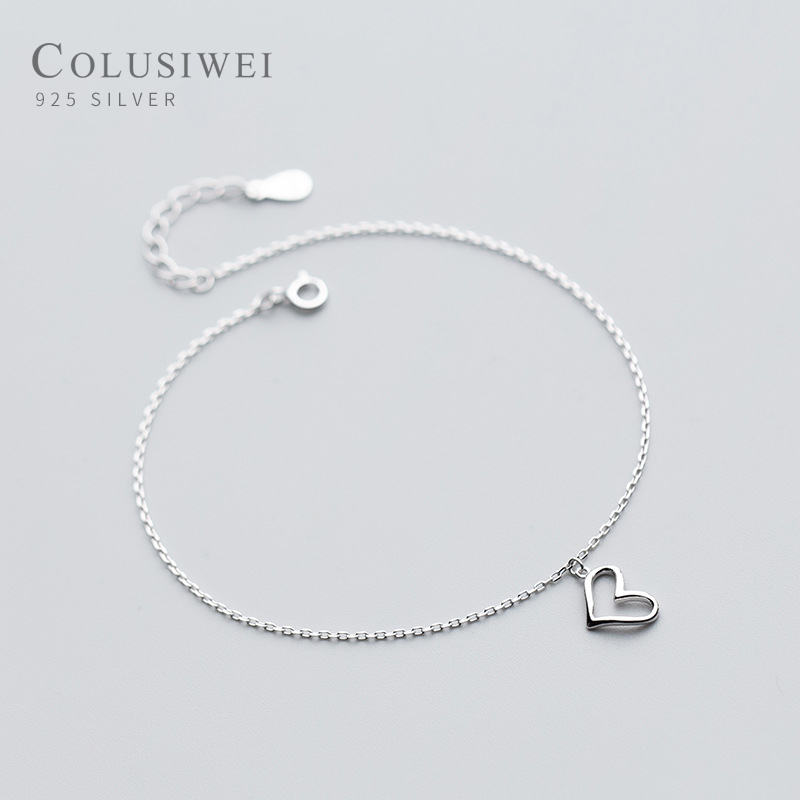 Colusiwei Real 925 Sterling Silver Lovely Heart Silver Anklet for Women Charm Bracelet of Leg Ankle Foot Accessories Fashion