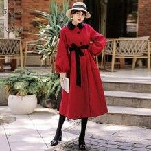 YOSIMI осеннее зимнее женское Шерстяное Пальто красное вино элегантное шерстяное длинное пальто до середины икры Женская куртка с длинным рукавом рукав-фонарик