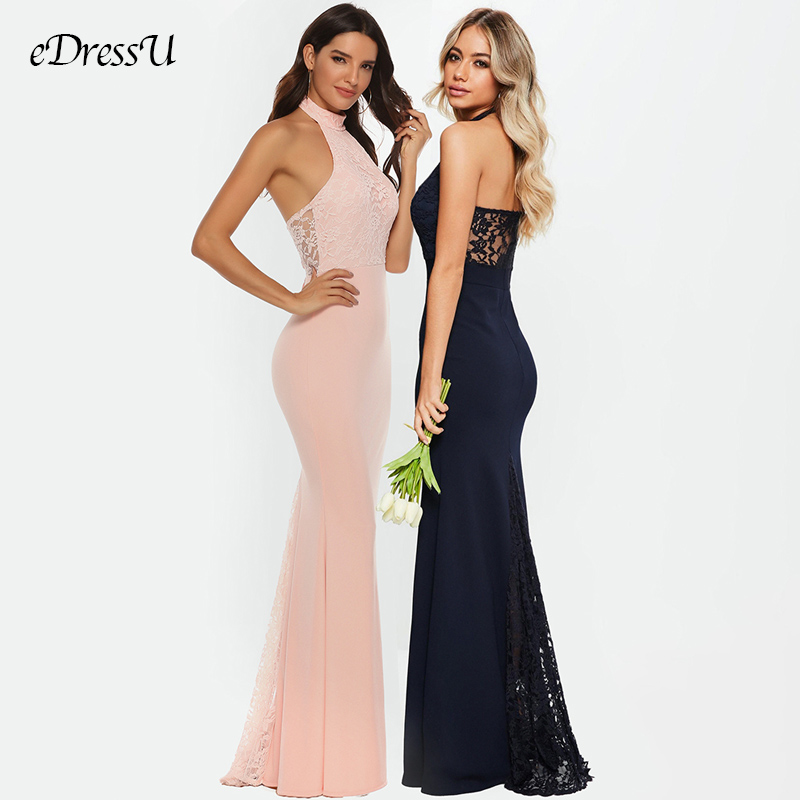 Elegant Bridesmaid Long Dress Mermaid Party Dress Sexy Lace Dress Pink Vestido De Fiesta Halter Formal Dress Robe YSM-5204