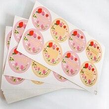 80pcs/pack Fashion High Quality Sealing Label Adhesive Pink Strawberry Round Seal Sticker
