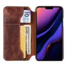 Solque etui z klapką ze skóry naturalnej dla iPhone 11 12 Pro Max Mini etui na telefon luksusowe etui na karty Retro Vintage