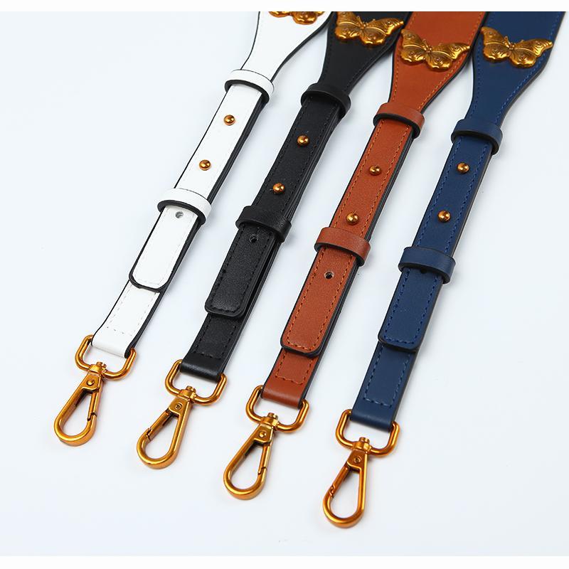 New Fashion Butterfly Rivet Bag Strap Adjustable Handbag Belts High Quality Pu Leather Shoulder Bag Straps Replacement Bags Belt