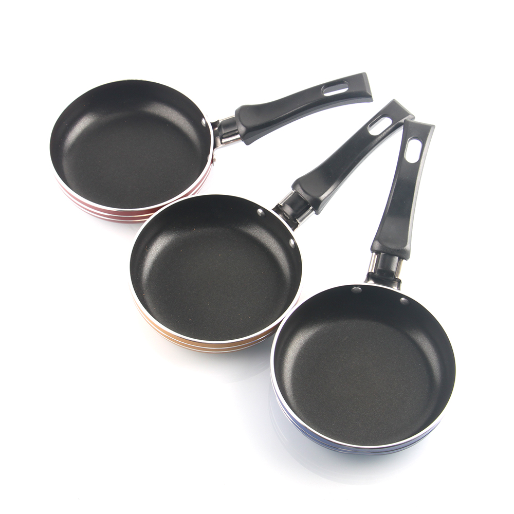 1pc Stainless Steel Mini Frying Pan Kitchen Wok Saucepan Skillet Kitchen Pots Non-stick Pan Multicolor