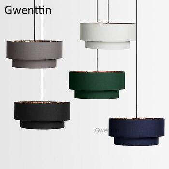 Milan Nordic Tecido Redonda do Pendente Luzes Led Moderna Lâmpada de Suspensão para Sala Quarto Home Decor Iluminação Luminária