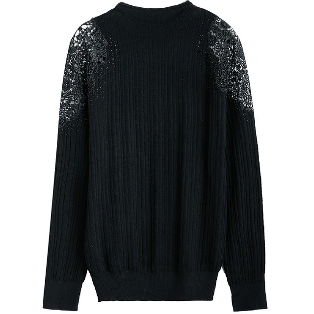 Women Spring Autumn Style Knitted Blouses Shirts Lady Casual Turtleneck Lace Decor Blusas Tops DD8043 2