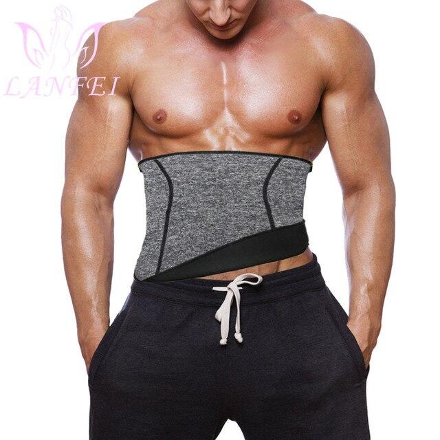 LANFEI Men Waist Trainer Belt Neoprene Sauna Sweat Body Shaper Belly Wrap Workout Tummy Control Slimming Corset for Weight Loss