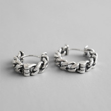 Fashion popular Korean S925 sterling silver retro old chain earrings ear clips Christmas gift wedding commemorate girlfriend