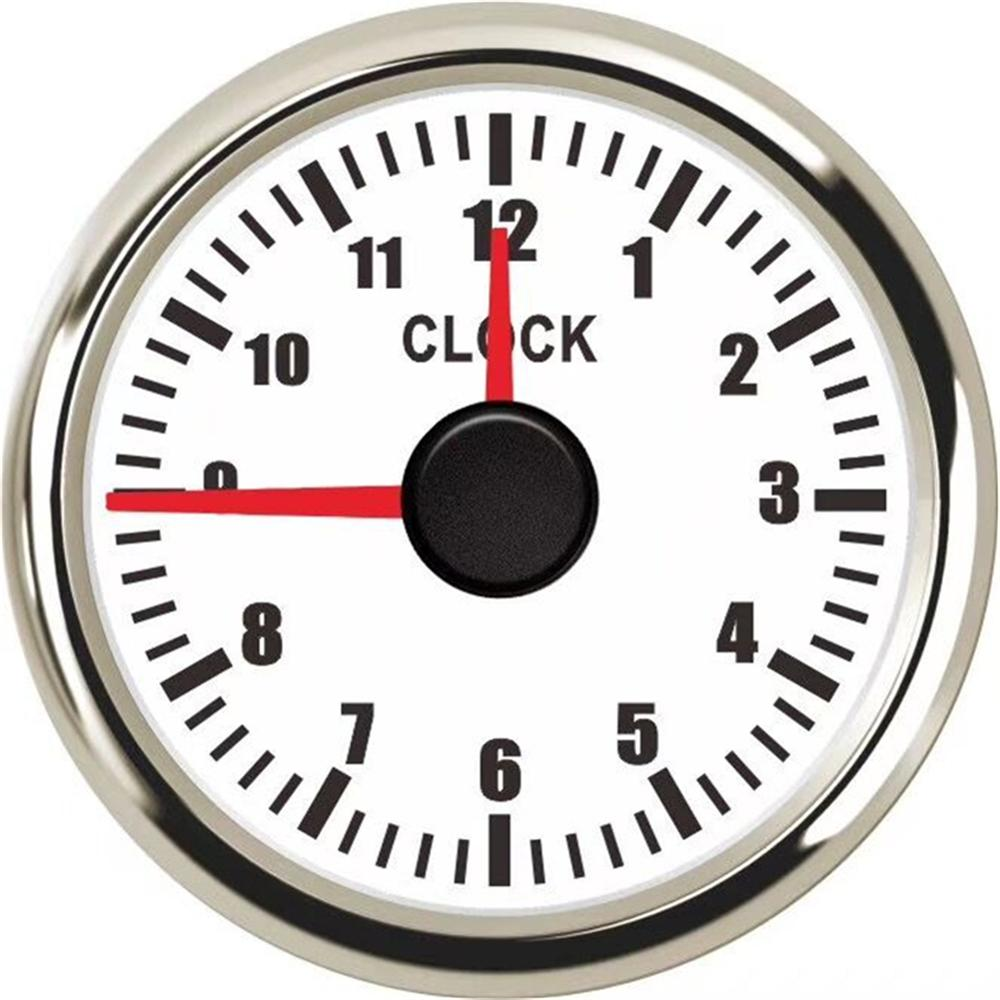 1pc 52mm <font><b>Clock</b></font> Gauges Auto Instrument Panel Hour Meters 0-12Hours Show <font><b>Clock</b></font> Meters with Red Backlight for Car <font><b>Boat</b></font> Yacht image