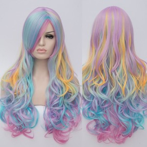 Image 5 - VICWIG Women Cosplay Multicolor Stitching Gradient Wig Long Wig Curved Big Wave Black and White Blue Pink Color Wigs