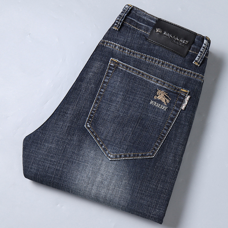 Large Brand MEN'S Jeans Straight-Cut Elasticity Youth Slim Fit Jeans Men's Thin Pure Cotton
