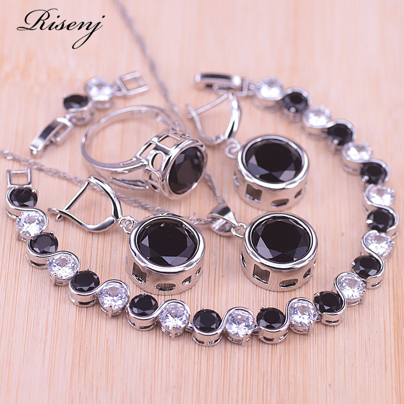 Risenj Silver Color Costume Jewelry Set For Women Earrings Ring Necklace Bracelet Set Black Stone Round Square Jewelry Set