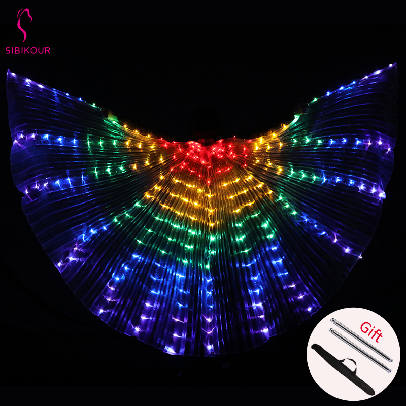 2020 Women Belly Dance Isis Wings Led Isis Wings Belly Dance Accessory Wings Costume Butterfly Wings Adult With Sticks Bag
