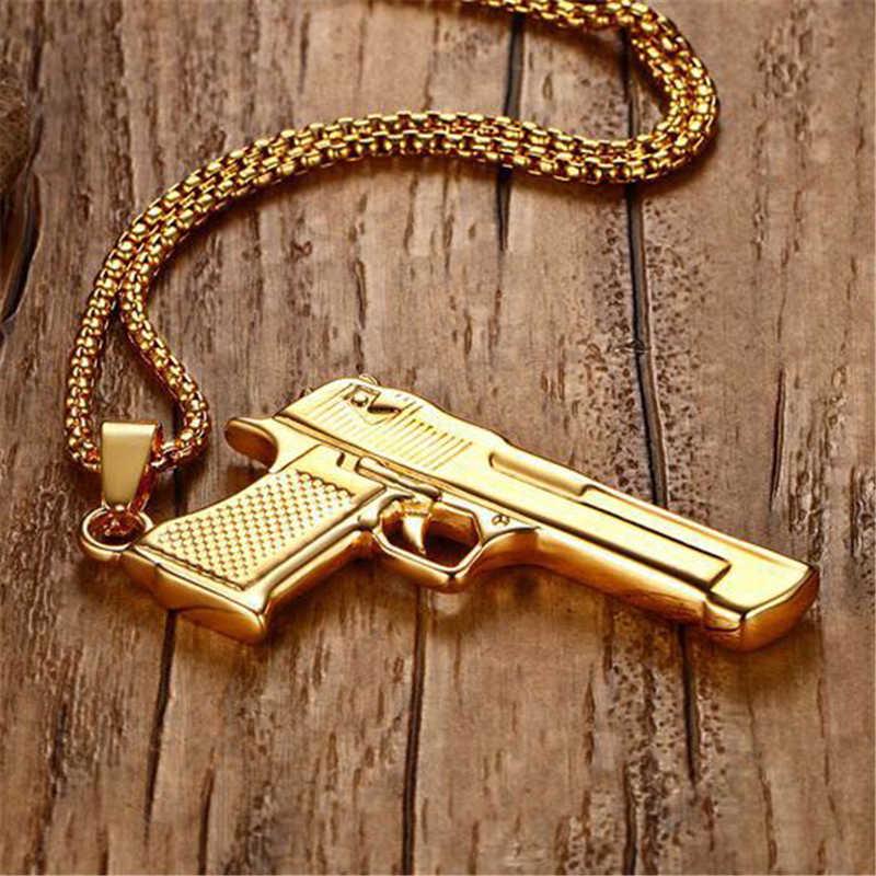 Punk Pistol Gun Pendants Necklaces Men Hip Hop Weapon Jewelry Chain Collier Gold Black Color Rock Jewelry Gifts
