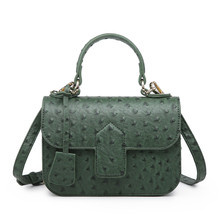 цены Luxury Designer Handbag Ostrich Pattern Leather Bags Women Clutch Bag Party Evning Trendy Green Ostrich Bag