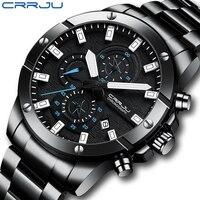 CRRJU orologio da uomo nuovo quarzo grandi orologi orologio da polso cronografo impermeabile in acciaio pieno per uomo Relogio Masculino