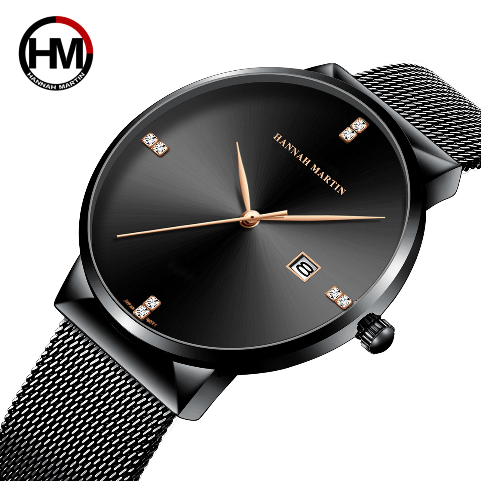 Hannah Luxury Fashion Mens Minimalist Watches Solid Dial Date Casual Wrist Watches Thin Gentle Men Male Quartz Wrist Watch Homme