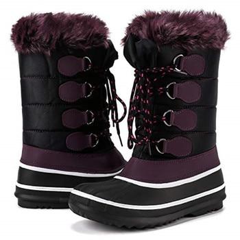 EPHER Women Faux Fur Snow Boots Mid-calf Waterproof Boots Anti Slip Snow Ski Footwear