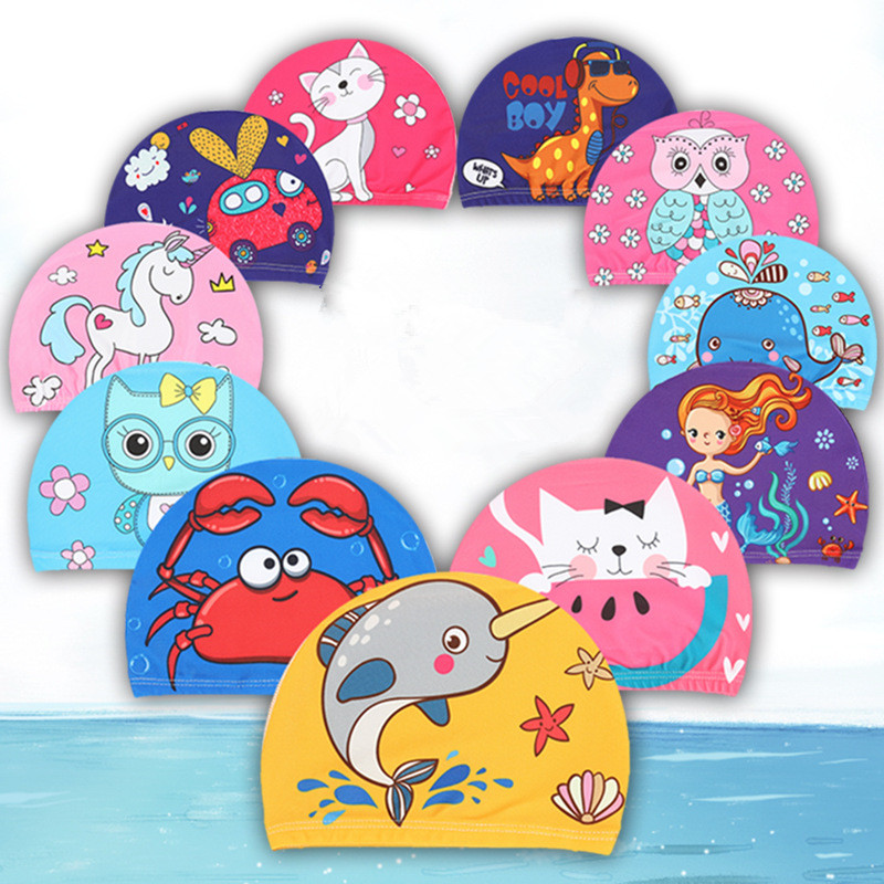 1pc Cartoon Unicorn Elastic Fabric Printed Swimming Caps for Long Hair Lovely Kids Protect Ears Swim Pool Hat for Boys Girls