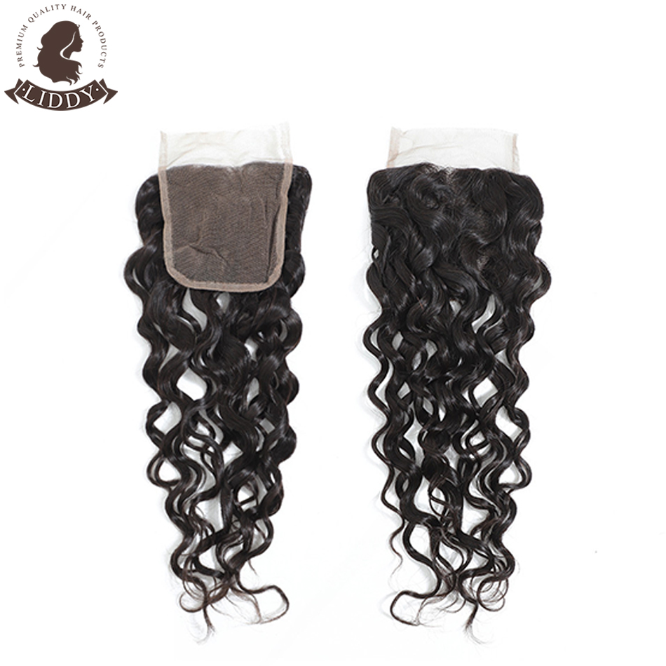 Liddy Water Wave 4x4 Lace Closure 100% Human Hair Closure Brazilian Hair Weaving Natural Color Non-remy Hair Frontal Closure