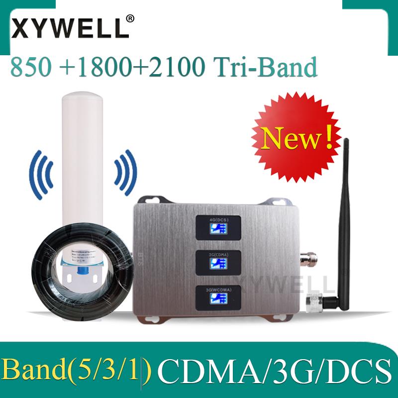 Tri-Band 850/1800/2100 Mobile Signal Booster Gsm 2g 3g 4g GSM CDMA DCS WCDMA 2g 3g 4g GSM Signal Repeater 4g Cellular Amplifier