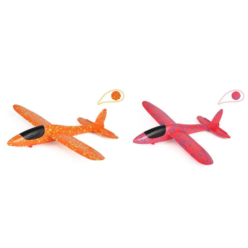 2Pcs 38CM EPP Foam Hand Throw Airplane Rubber Band Ejection Outdoor Launch Glider Plane Gift Toys for Children Kids Game Red & O image
