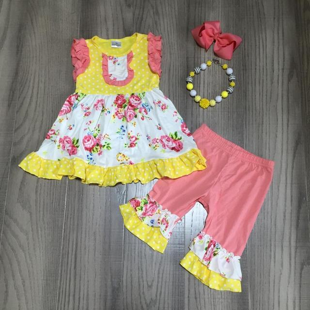 new arrivals spring/summer yellow coral floral flower capris baby girls clothes cotton ruffles boutique set match accessories