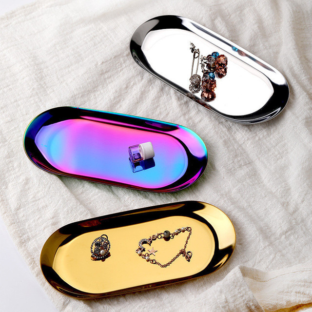 Stainless Steel Gold Dining Plate Nut Fruit Cake Tray Snack Kitchen Plate Nordic Western Steak Kitchen Plate Dessert Plate