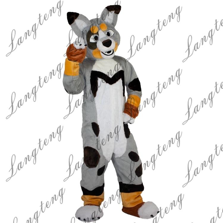 Longa pele husky raposa cão mascote traje