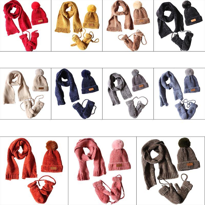 3 In 1 Toddler Kids Winter Ribbed Knit Warm Pompom Beanie Hat Scarf Gloves Set