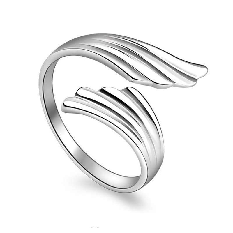 PISSENLIT Simple Adjustable Silver Ring Wing Ring Women Jewelry New Korean Trendy Wing Wedding Rings For Women Accessories Gifts in Wedding Bands from Jewelry Accessories