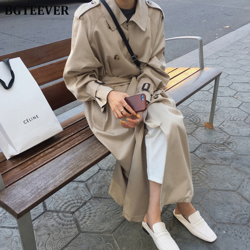British Double Breasted Oversized Long   Trench   Coat Women Windbreaker Fashion Female Turn-down Collar Long Overcoats Winter 2019