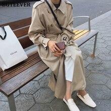 British Double Breasted Oversized Long Trench Coat Women Windbreaker Fashion Fem